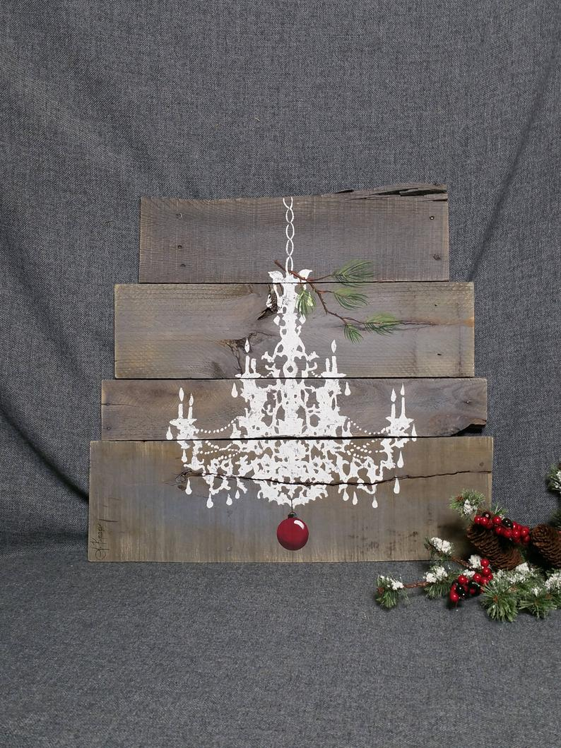 Christmas Chandelier with red bulb on pallet wood, Hand painted pine branch, Farmhouse Decor Wall Art
