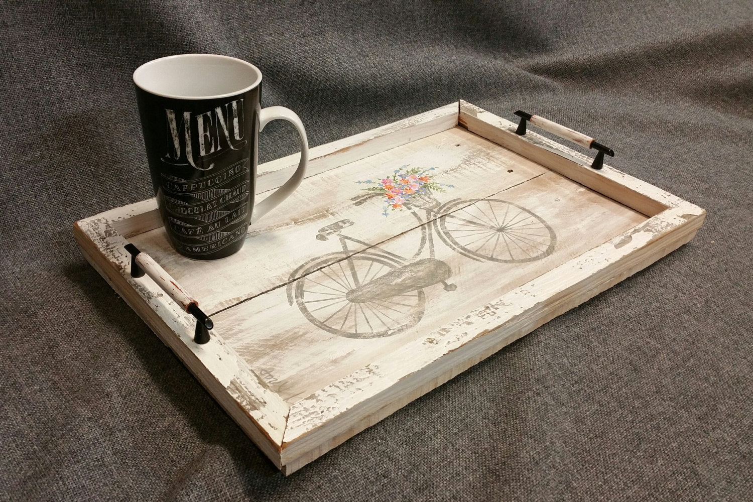 Pallet hand painted tray, antique bike with Spring flower basket, Farmhouse decor