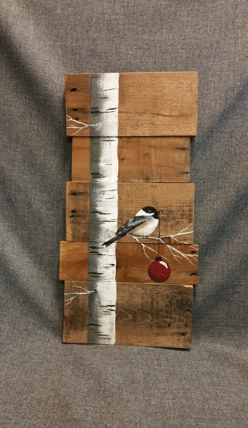 Rustic hand painted Christmas sign, White Birch with chickadee bird on natural pallet art, Cabin holiday decor
