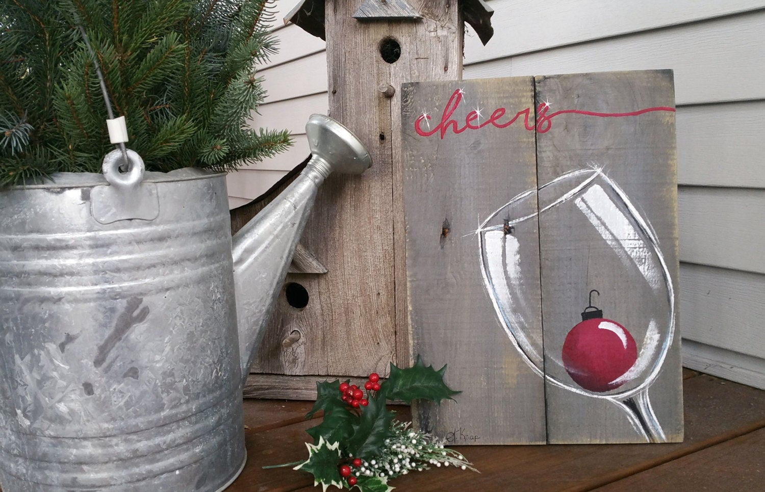 Christmas wine, hand painted Christmas pallet art, Cheers, red Christmas holiday bulb