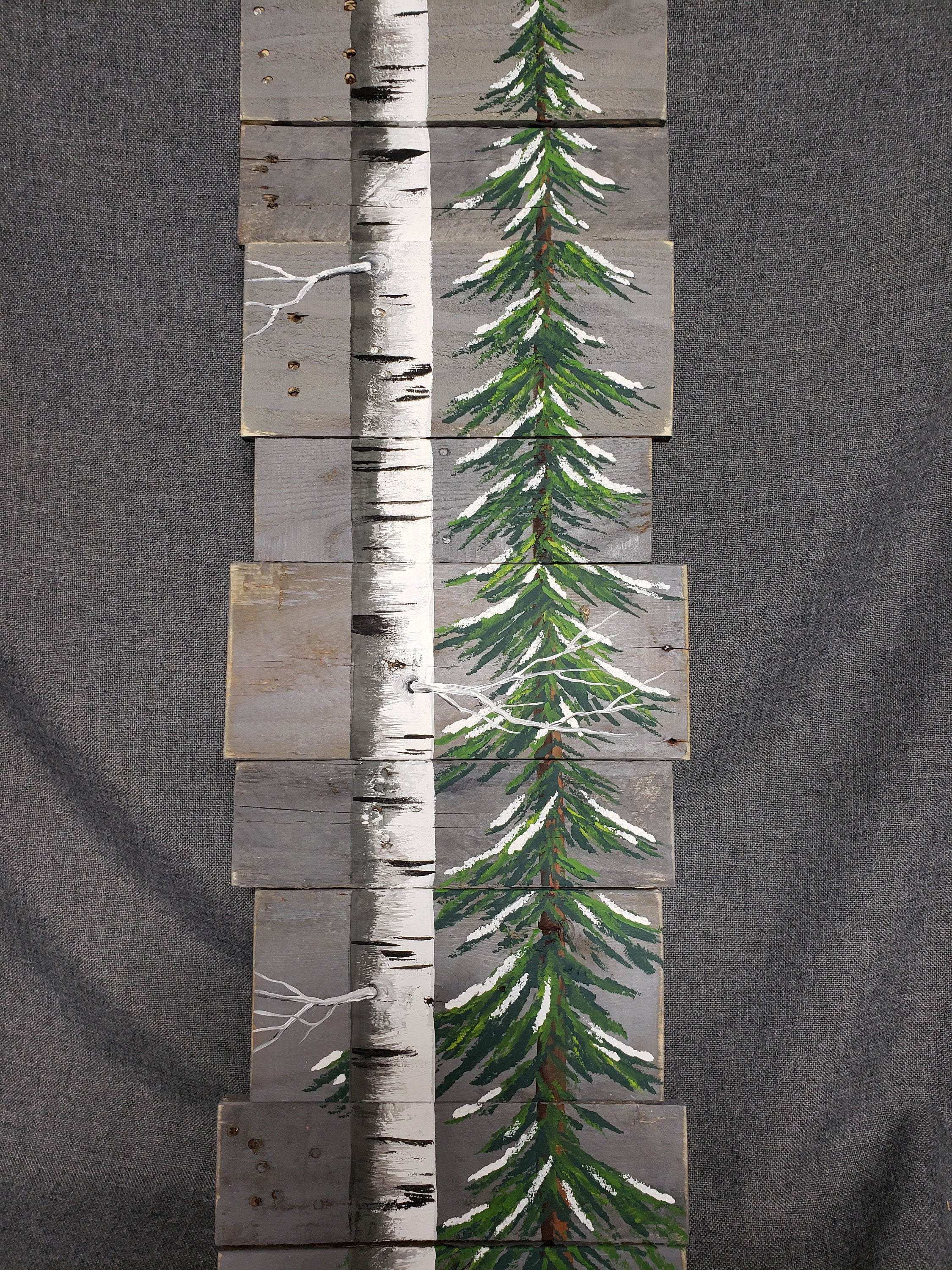 Snowy Pine tree painted on pallet wood, hand painted white birch aspen tree, Winter Cottage decor