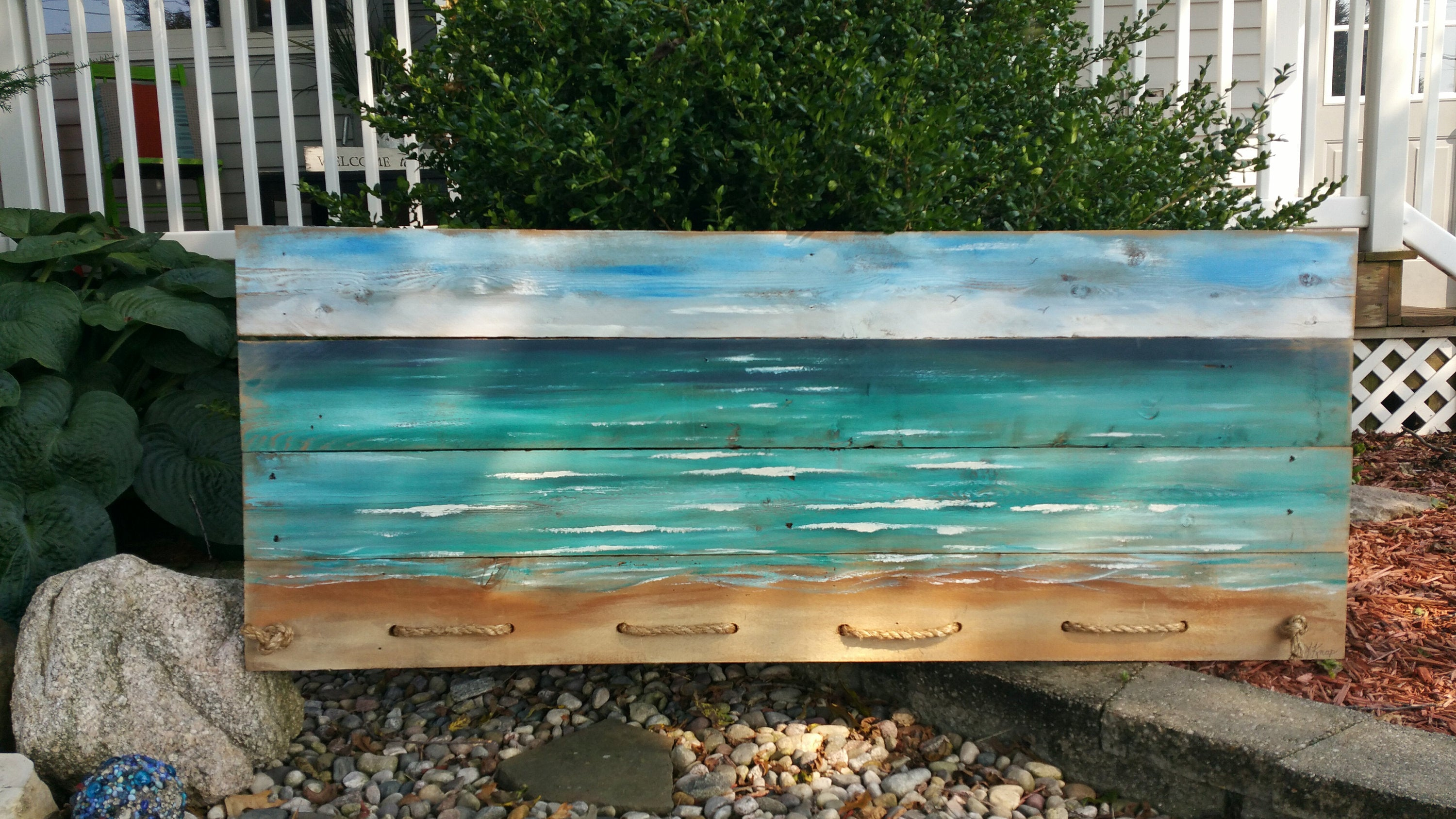 Beach Headboard Pallet art, Hand painted Rustic beach painting with rope accent,  long horizontal mural art, Large couch ocean wall art