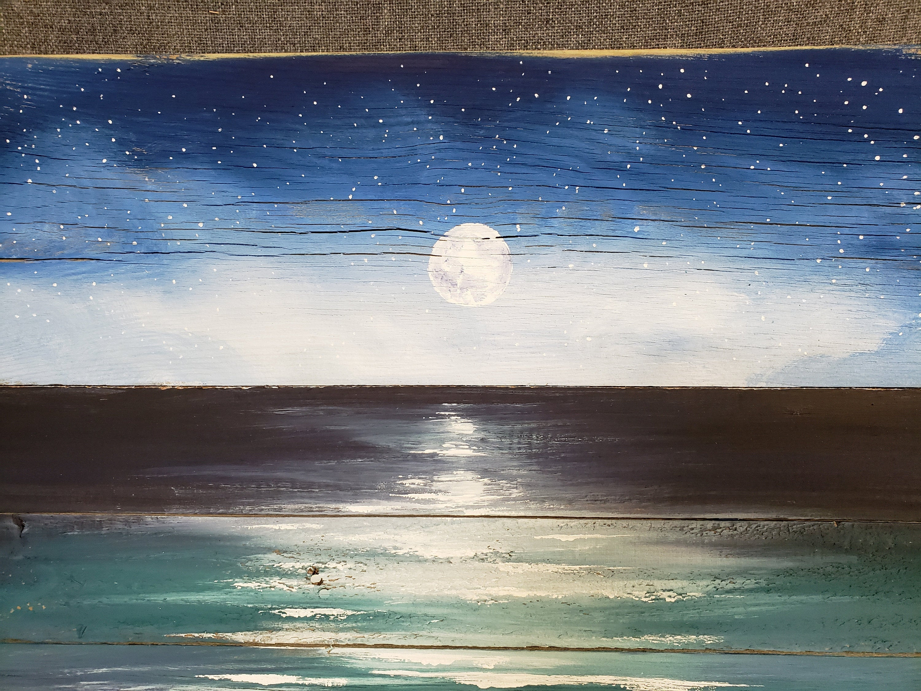Beach painting on reclaimed pallet wood, Night sky with moon over beach, hand painted beach mural