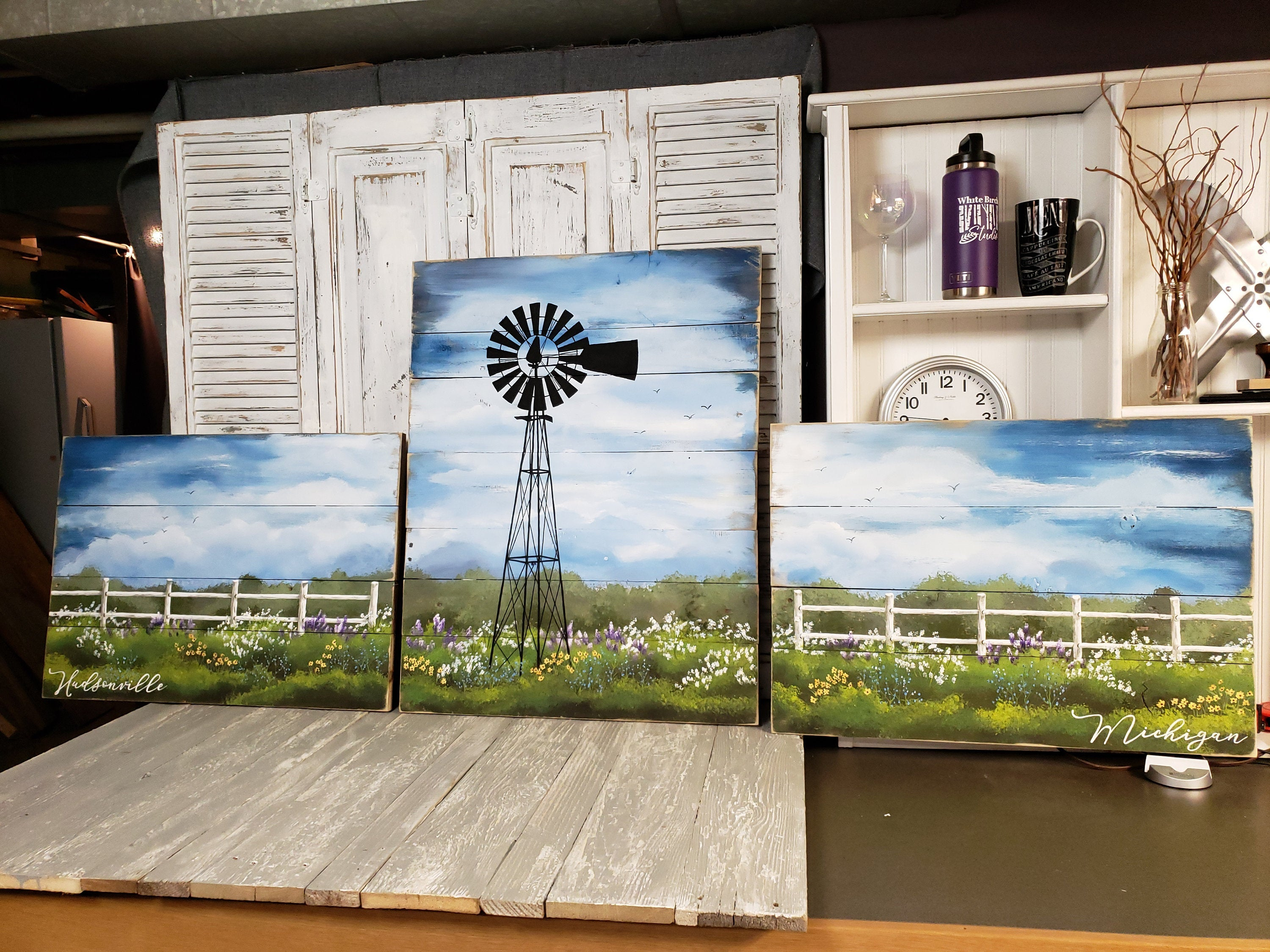 Windmill 3 Piece Large painting, farmhouse large country wall decor,  flower field with white fence, customize word sign, Couch art