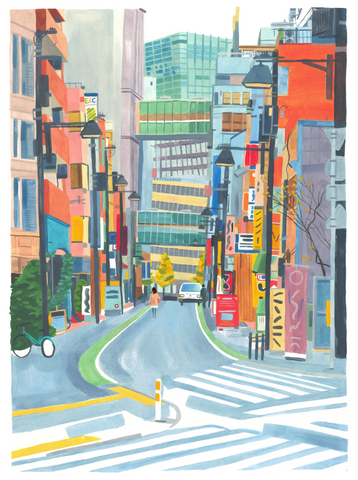 Japanese Street Print By Grace Helmer