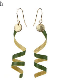 Green Tendril Bamboo Earrings