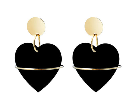 La Mouk's Black Heart Earrings