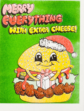 Merry Everything with Cheese - Risograph Card