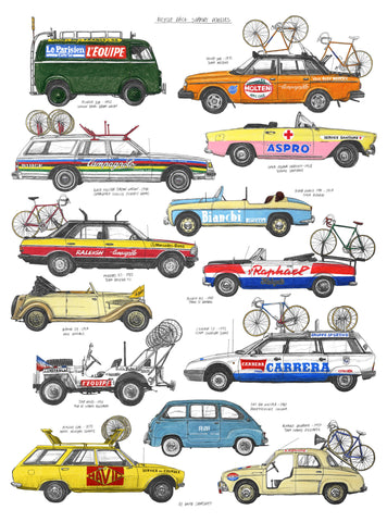 Bike Race Support Vehicles Print By David Sparshott
