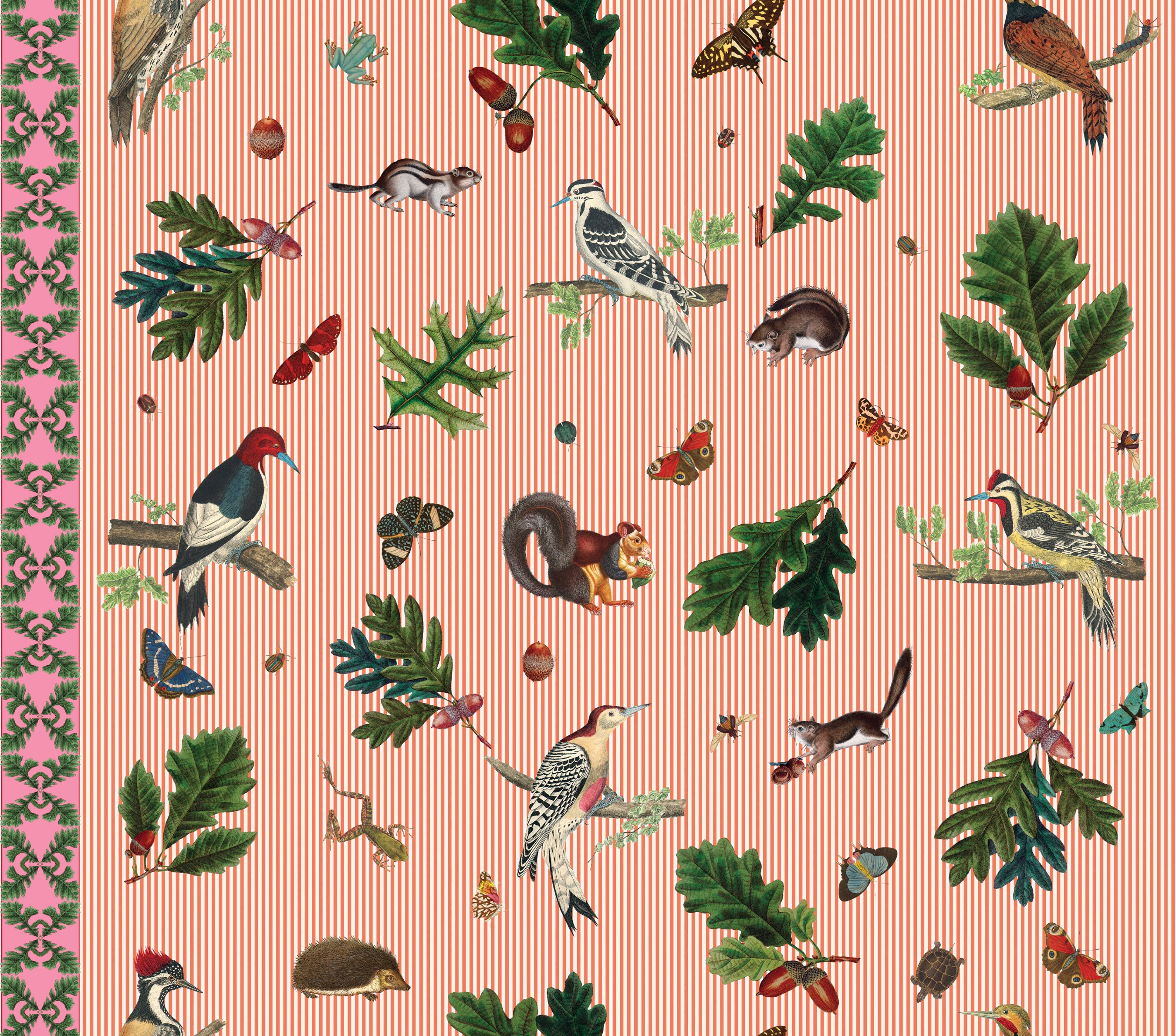 Woodpeckers And Oak Leaves Wallpaper