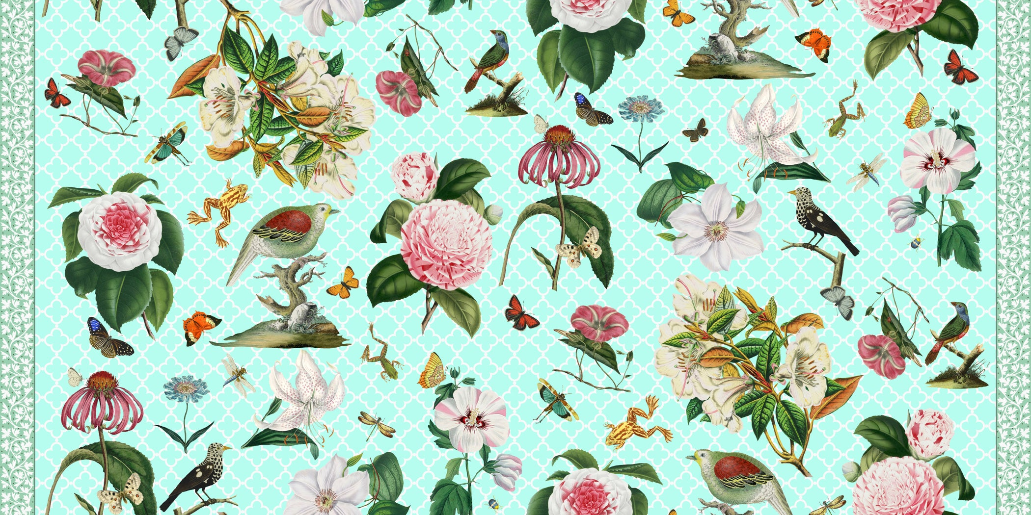 Green Bird Fabric