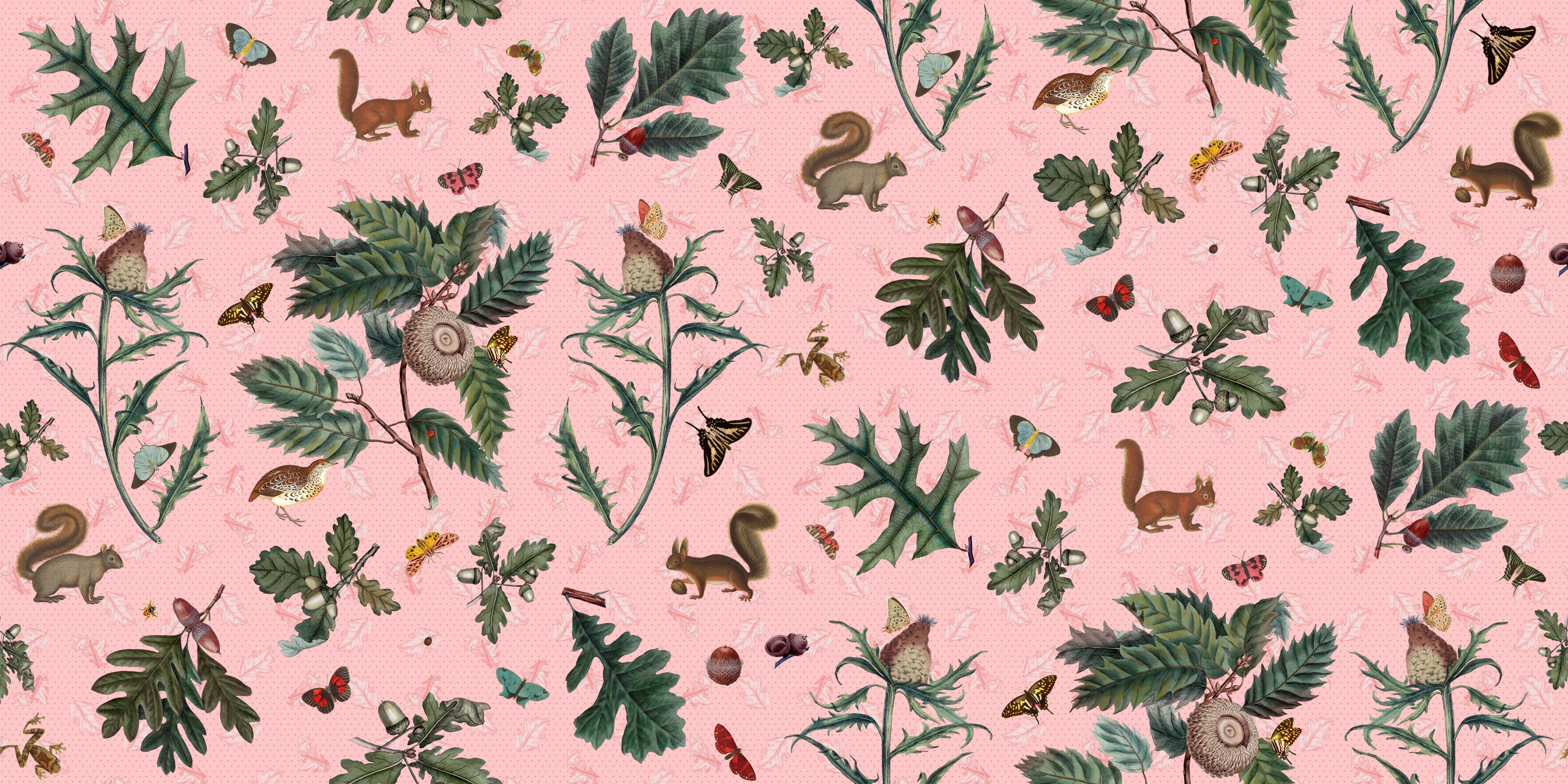 Squirrels & Great Prickly Oak Fabric