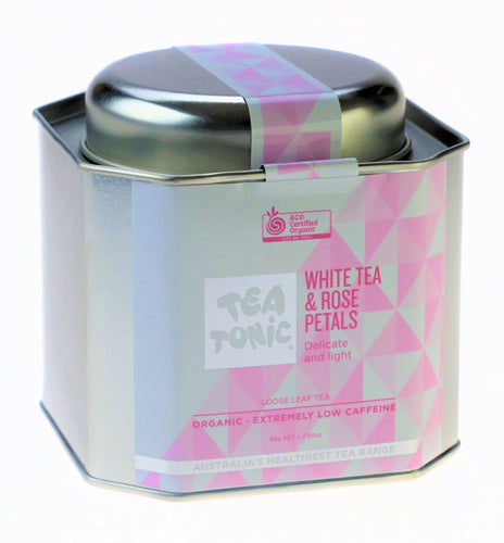 WHITE TEA & ROSE PETALS LOOSE LEAF CADDY TIN