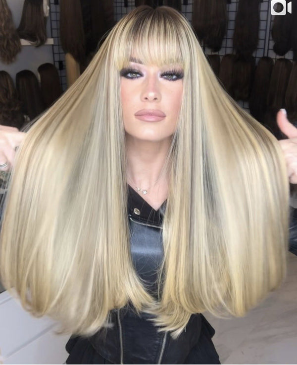 Shining Bright Blonde Long Straight Wig