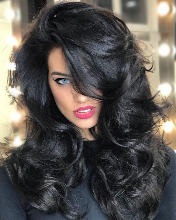 Big wave black wig