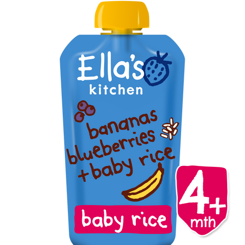 bananas blueberries + baby rice