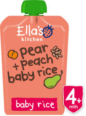 Pear + peach baby rice