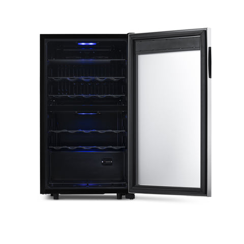 NewAir Freestanding 28 Bottle Dual Zone Wine Fridge in Stainless Steel