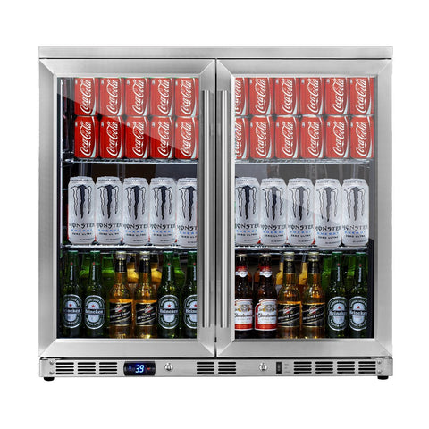 Kings Bottle 36-Inch Undercounter Fridge with Glass Double Door