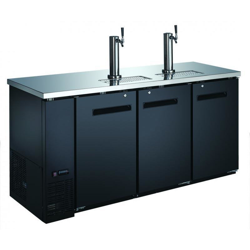 73-INCH SOLID DOOR BACK BAR COOLER WITH BEER DISPENSER WITH TWO TAPS AND 19.6 CU. FT. CAPACITY