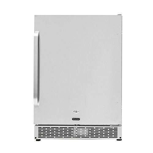 "Whynter 24"" Built-in Outdoor 5.3 cu.ft. Beverage Refrigerator Cooler Full Stainless Steel Exterior with Lock and Caster Wheels"
