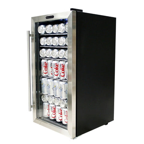 Whynter Stainless 120-Can Small Beverage Fridge with Glass Door Black