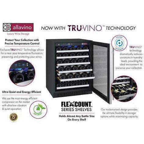 Allavino 56-Bottle Single Zone Stainless Steel Right Hinge Wine Refrigerator