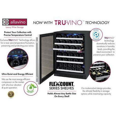 Allavino Wide FlexCount 56-Bottle Dual Zone Stainless Steel Left Hinge 24 Inch
