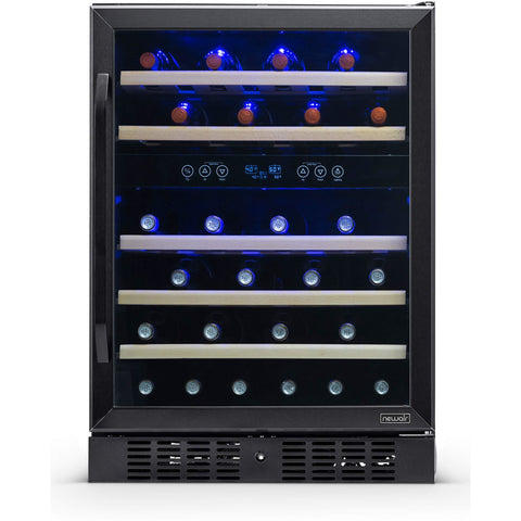 NewAir NWC046BS00 24 Built-in 46 Bottle Dual Zone Compressor Wine Fridge, Quiet Operation with Beech Wood Shelves - Black Stainless Steel