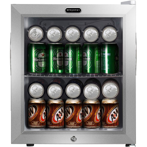 BR-062WS Whynter Beverage Refrigerator With Lock  Stainless Steel 62 Can Capacity
