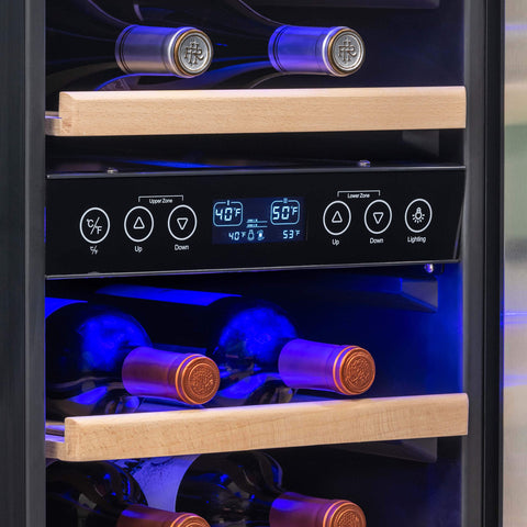 "NewAir NWC029SS01 15"" Built-in 29 Bottle Dual Zone Compressor Wine Fridge"