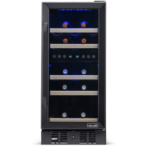 NewAir NWC029BS00 29 Bottle Capacity Dual Zone Wine Cooler Built in Refrigerator Stainless Steel