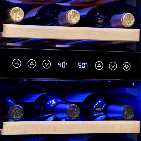 NewAir AWR-290DB 29 Bottle Wine Cooler Built In Dual Zone Stainless Steel
