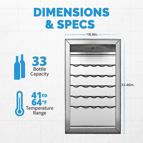 NewAir NWC033SS01 Freestanding 33 Bottle Compressor Wine Fridge in Stainless Steel, Adjustable Racks and Exterior Digital Thermostat