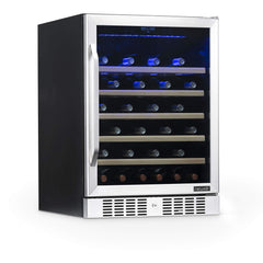 NewAir AWR-520SB 52 Bottle Capacity Built-In Wine Cooler and Refrigerator with Triple-Layer Tempered Glass Door