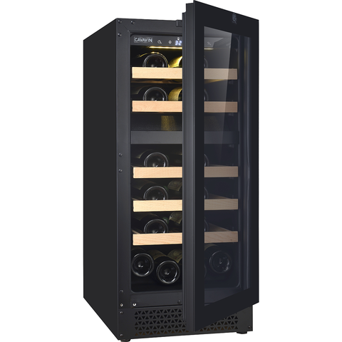 "Cavavin V-024WDZFG Dual Zone 15"" Wine Cellar Black Glass"