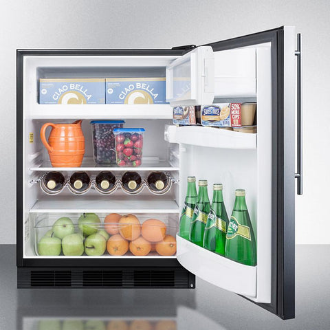 Summit 24-Inch Stainless Undercounter Refrigerator with Freezer ADA