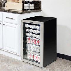 Whynter Stainless 120-Can Small Beverage Fridge with Glass Door White