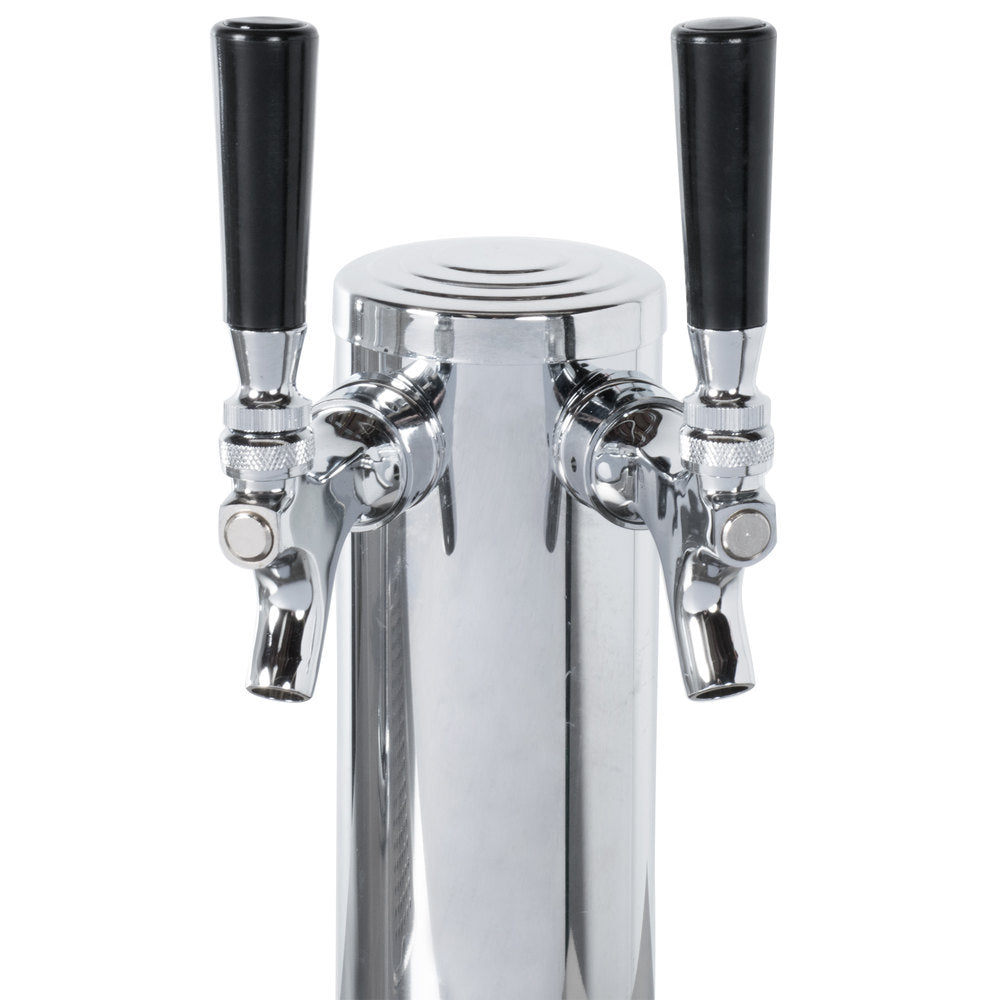 69-INCH DOUBLE SOLID DOOR BEER BOTTLE DISPENSER WITH TWO TAPS AND 23.3 CU. FT. CAPACITY
