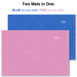 "24"" x 36"" Pink/Blue Double-Sided Self-Healing Cutting Mat"