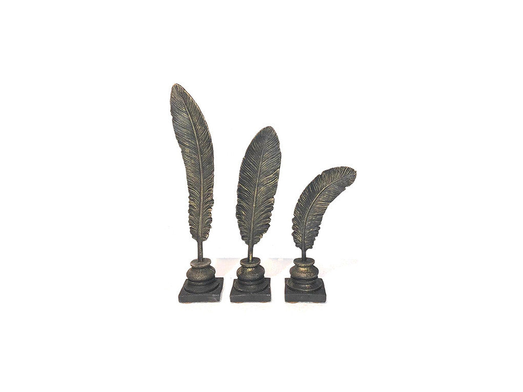 Three Feathers Decorative Figure Black - Ider Furniture