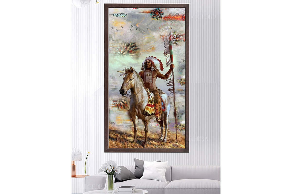 Wooden Frame Oil Painting Textured Painting Native American 120X65 - Ider Furniture