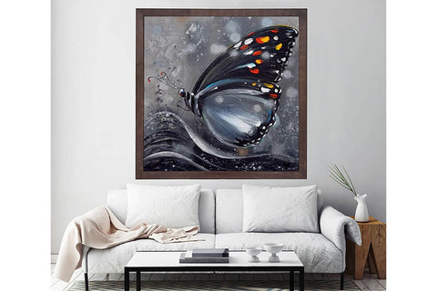Wooden Frame Oil Painting Textured Painting Black butterfly 80X80 - Ider Furniture