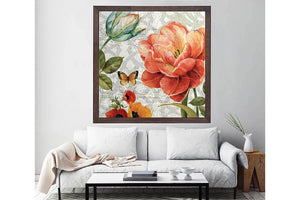 Wooden Frame Oil Painting Textured Painting Summer Rose 80X80 - Ider Furniture