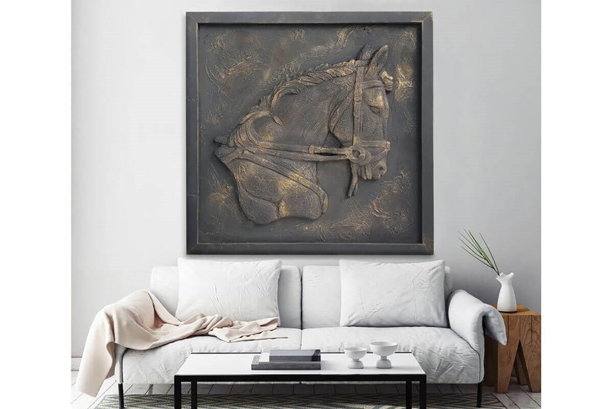 Custom Made Relief Painting Bronze Horse 80X80 - Ider Furniture