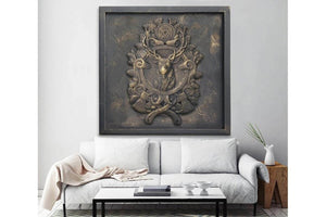 Custom Made Relief Painting Bronze Deer Head 80X80 - Ider Furniture