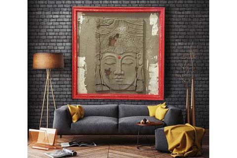 Custom Made Relief Painting Bronze Red Buddha 80X80 - Ider Furniture