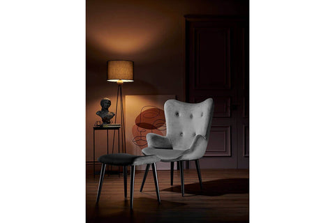 Roma Armchair + Puff Gray - Ider Furniture