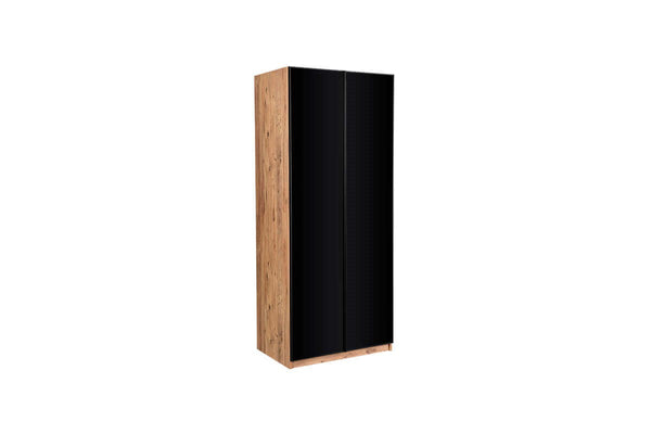 Sardis 2 Doors Black Glass Wardrobe with Hanger - Ider Furniture