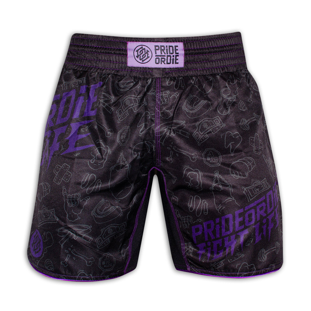 "Fight Short PRiDEorDiE ""FIGHT LIFE"" - Noir & Violet"